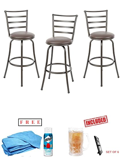 b3355c35d114 Amazon.com: Generic- 3-Piece Ladder Back Ajustable Height Sturdy Metal  Frame Swivel Barstool, Comfortable Seat Cushions, Hammered Bronze Finish  with Free!: