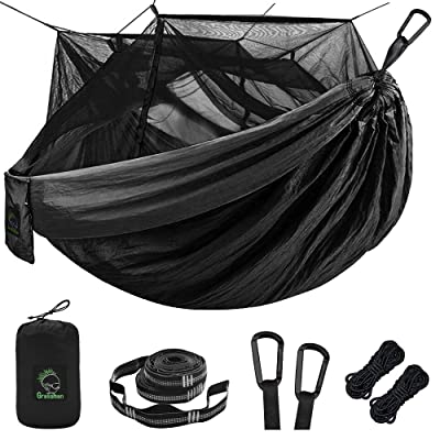 Single & Double Camping Hammock with Mosquito/Bug Net, Portable Parachute Nylon Hammock with 10ft Hammock Tree Straps 17 loops and Easy Assembly Carabiners, for Camping, Backpacking, Travel, Hiking: Sports & Outdoors