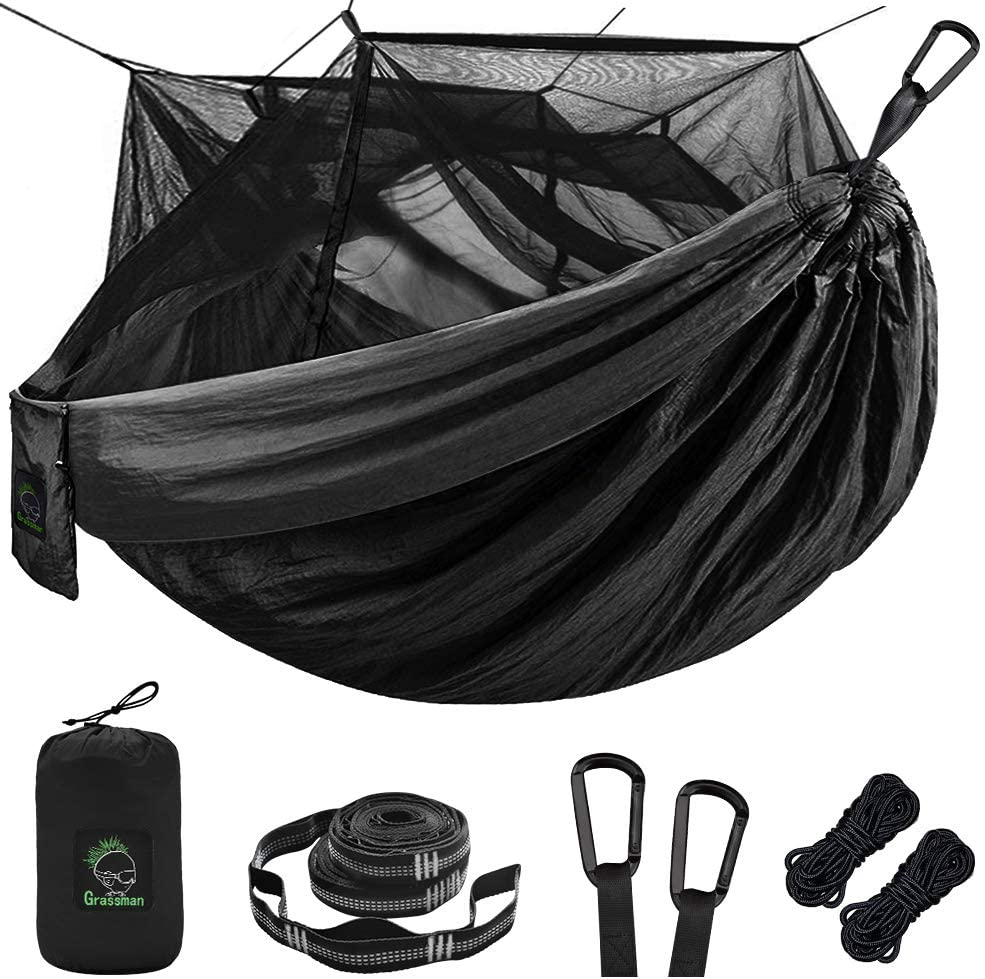 Portable Parachute Nylon Hammock with 10ft Hammock Tree Straps 17 loops and Easy Assembly Carabiners Backpacking Single /& Double Camping Hammock with Mosquito//Bug Net for Camping Hiking Travel