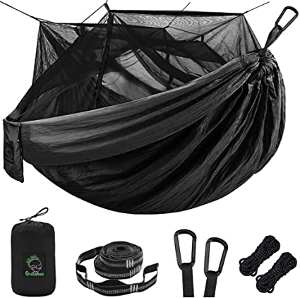 Backpacking Survival Parachute Nylon Hammock Easy Assembly The Netting Hieha Double /& Single Camping Hammock with Mosquito Net Tree Hammocks Portable Travel Hiking Outdoor Hammock for Camping