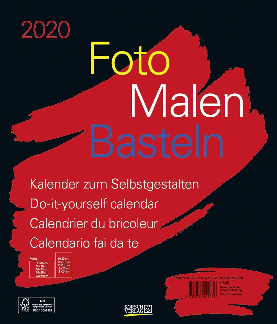 Foto Malen Basteln Bastelkalender Schwarz Groß 2020  Fotokalender Zum Selbstgestalten. Do It Yourself Kalender Mit Festem Fotokarton. Format  30 X 35 Cm