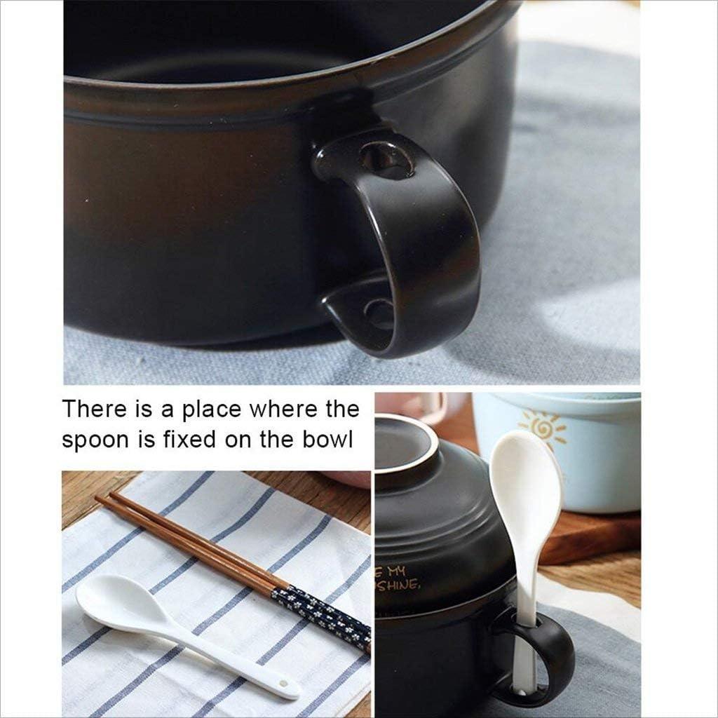 Cina Stoviglie E Servire Pezzi Di Ceramica Ciotola Di Riso Instant Noodle Cup Con Coperchio Con Manico Instant Noodle Bowl Ciotola Studente Ciotola Pranzo Box Zuppa Ciotola Forno A Microonde 7Inches