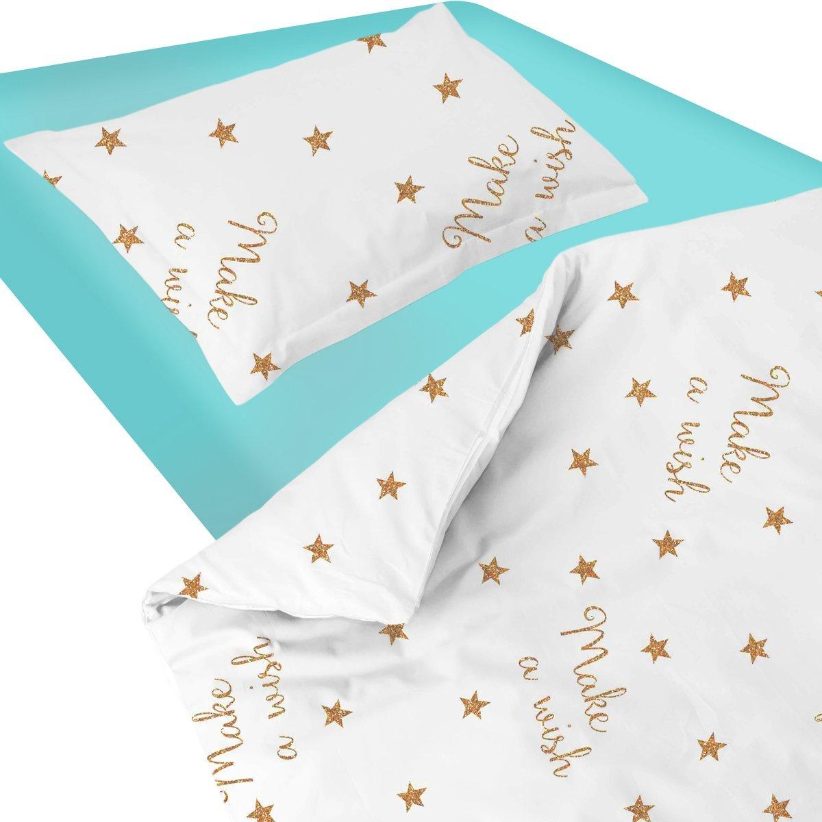 SoulBedroom Baby Make A Wish (Etoiles) Linge de lit pour bébé (Housse de Couette 120x150 cm et Taie d'oreiller - 100% Coton)
