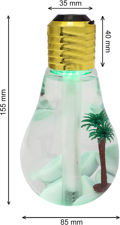 PAIDE P Humidificador de Bombilla de decoloracion Alimentado por USB luz de Noche de 7 Colores Ultra silenciosa Plata Dorado