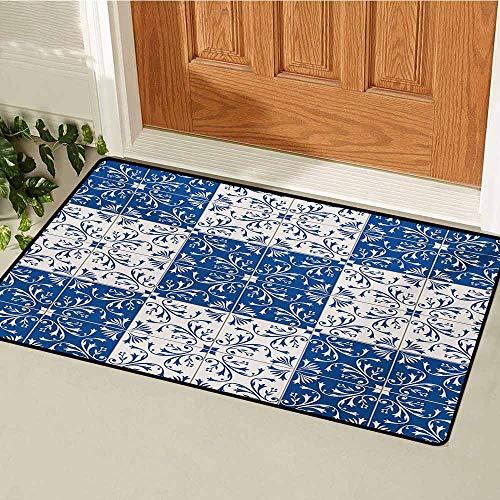 - GUUVOR Moroccan Front Door mat Carpet Turkish Portuguese Style Mosaic Ceramic Patterns Country Style Vintage Image Machine Washable Door mat W31.5 x L47.2 Inch Navy Blue White