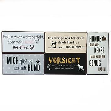 Blechschild,Schild,Spruch,Metall,Sprüche,Schilder,Nicht perfekt aber Hund,Antik