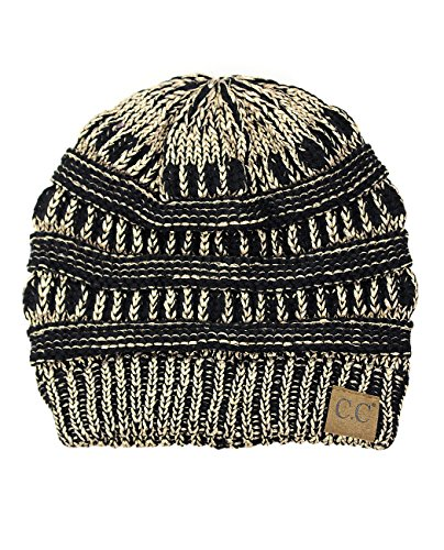 - C.C Trendy Warm Chunky Soft Stretch Cable Knit Beanie Skully, Black/Met. Gold