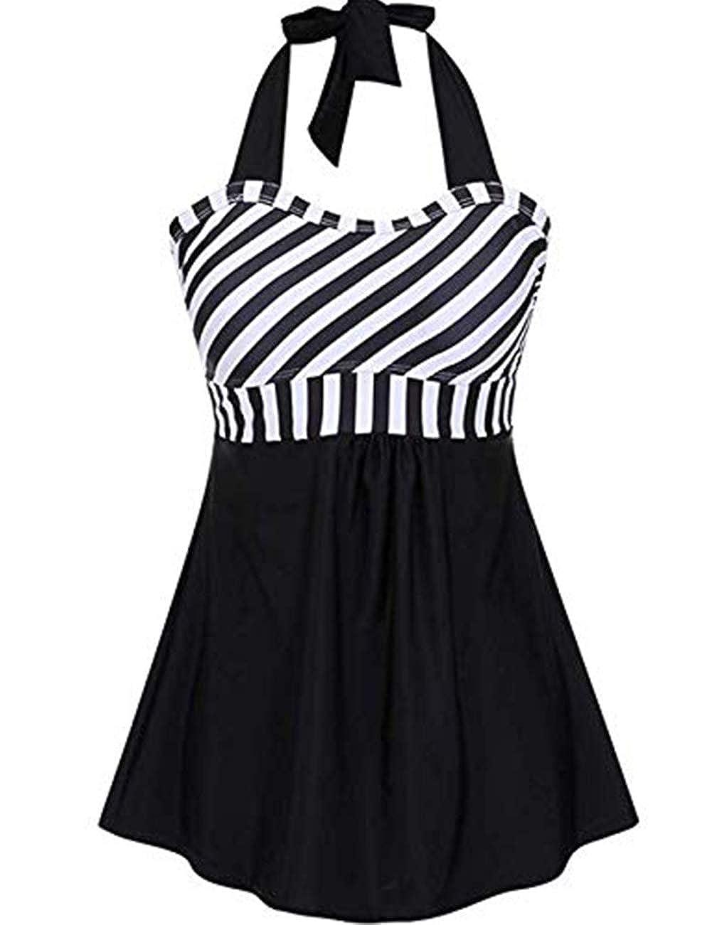 FeelinGirl Damen Neckholder Push Up Badekleid Figurformender Badeanzug mit R/öckchen Bauchweg Einteiliger Badekleid