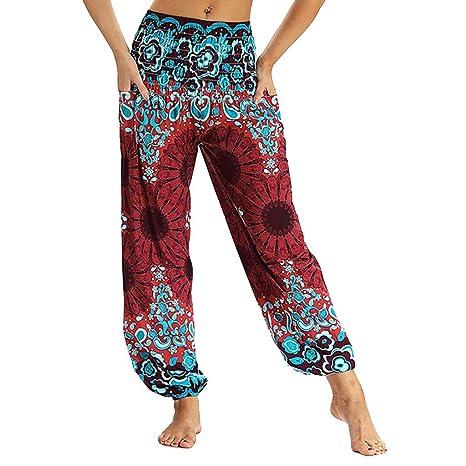 Cintura Alta de Yoga Pantalones, YpingLonk Suelto Elásticos para Running Pilates Fitness Pantalones Estilo Nacional Ropa Deportiva Mujer Bohemio Chic: ...