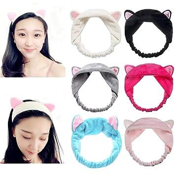 Cat Ear Headband Bath Wash Make up Hairband Yoga Elastic Headwear Cute Headwrap