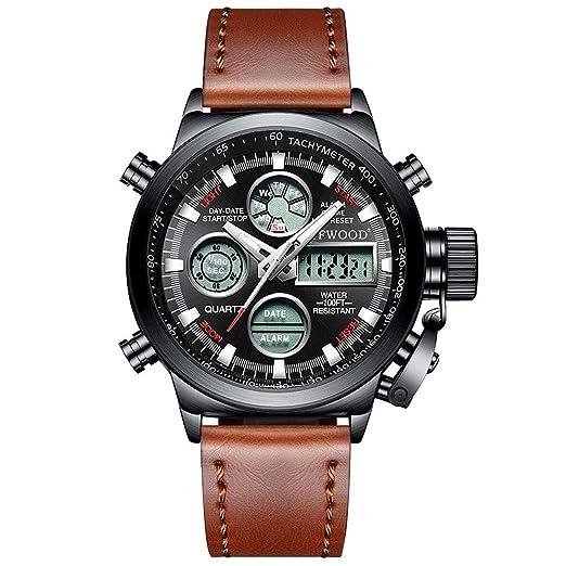 Reloj Deportivo analógico para Hombre Relojes Militares a Prueba de Agua Cronómetro Gents LED Reloj de