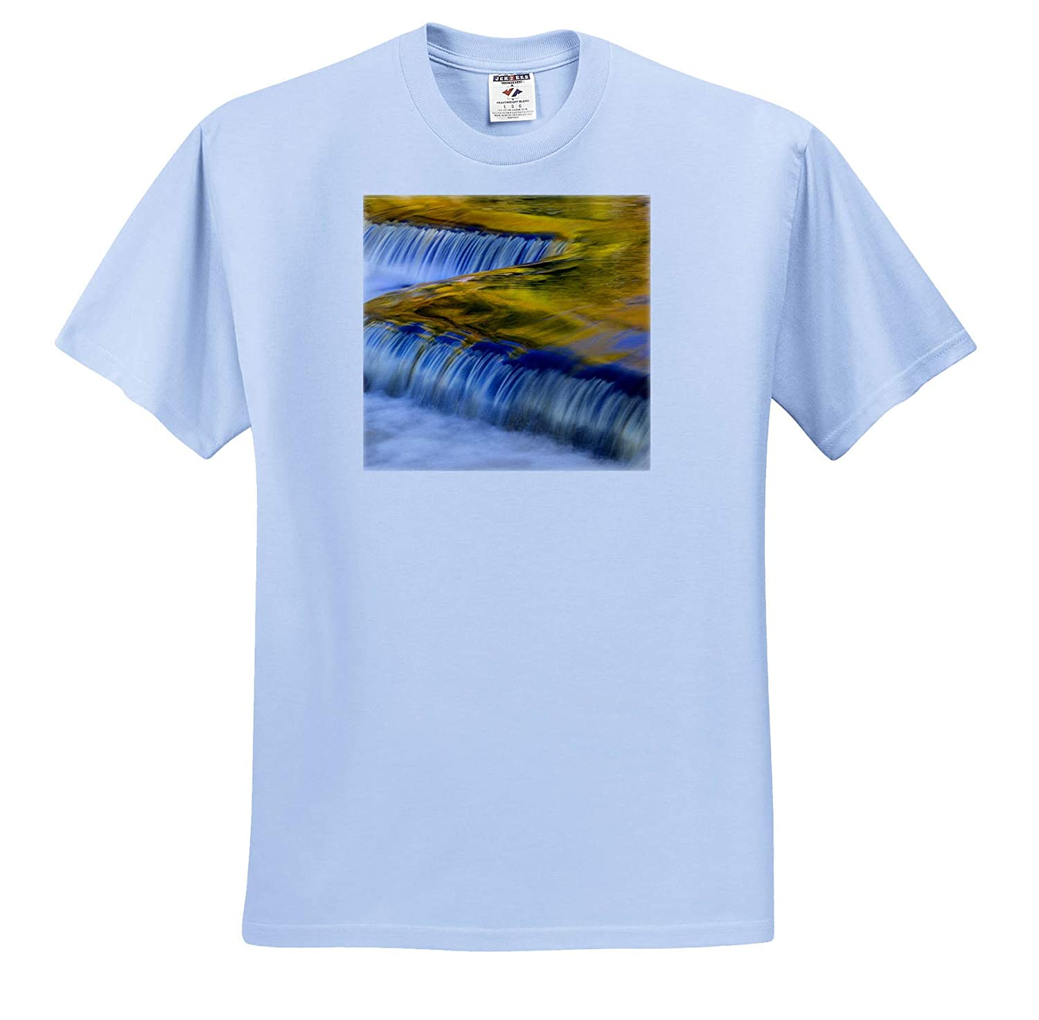 ts/_314861 - Adult T-Shirt XL 3dRose Danita Delimont Autumn Yellow and Gold Reflect from Tree into Waterfall