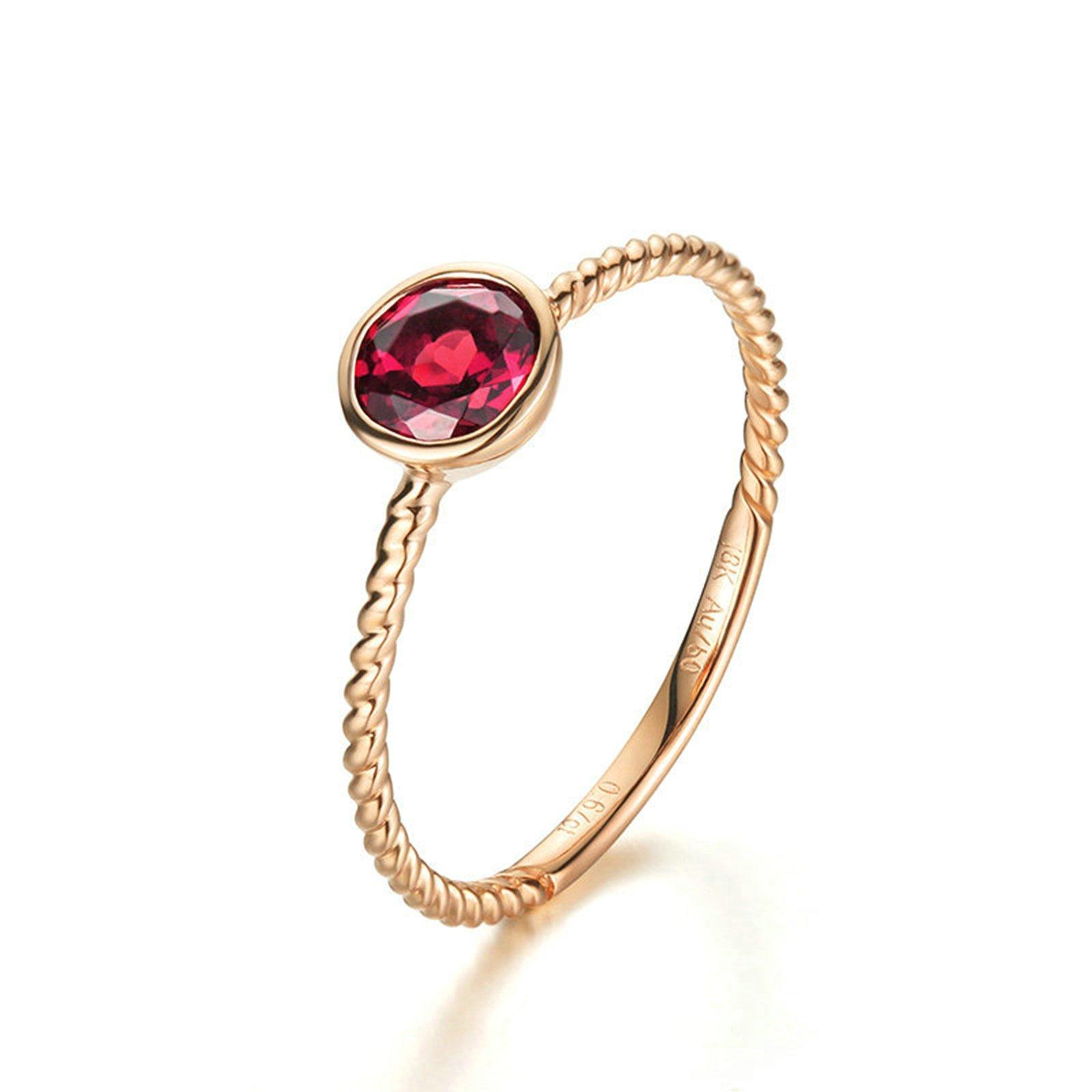18K Gold Ring(Au750) Round Cut Red Tourmaline Ring Wedding Engagement Ring for Women Bride Size 4.5 by Epinki