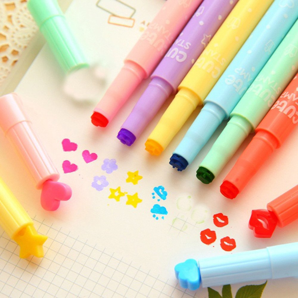 3PCS Stamp Ink Pens Highlighters Cute Pen Stamper Markers Watercolor Pen for Office School Supplies (Multicolor) by paway (Image #6)
