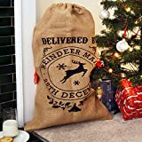 Nicola Spring Christmas Stocking, Hessian Gift Sack - Delivered By Reindeer Mail 25th December
