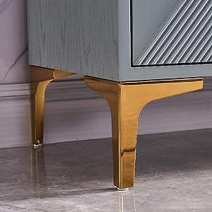 Furniture Legs 4 inch Modern Triangle Diamond Furniture Feet, Metal Furniture Legs for Cabinet Sofa TV Stand Bookcase 4Pcs (Gold)
