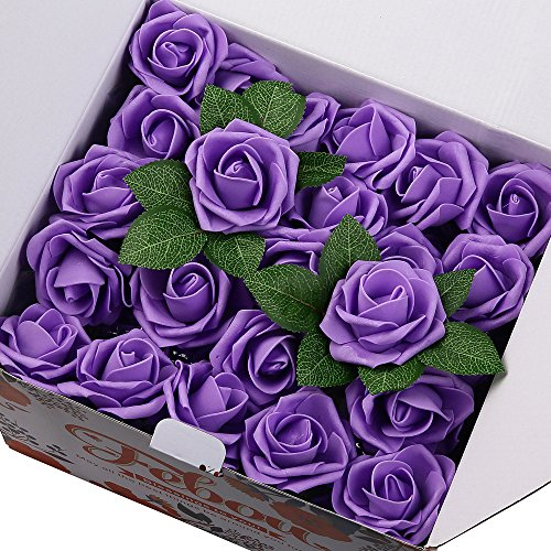 Rose Display - Febou Artificial Flowers, 100pcs Real Touch Artificial Foam Roses Decoration DIY for Wedding Bridesmaid Bridal Bouquets Centerpieces, Party Decoration, Home Display (Concise Type, Purple)