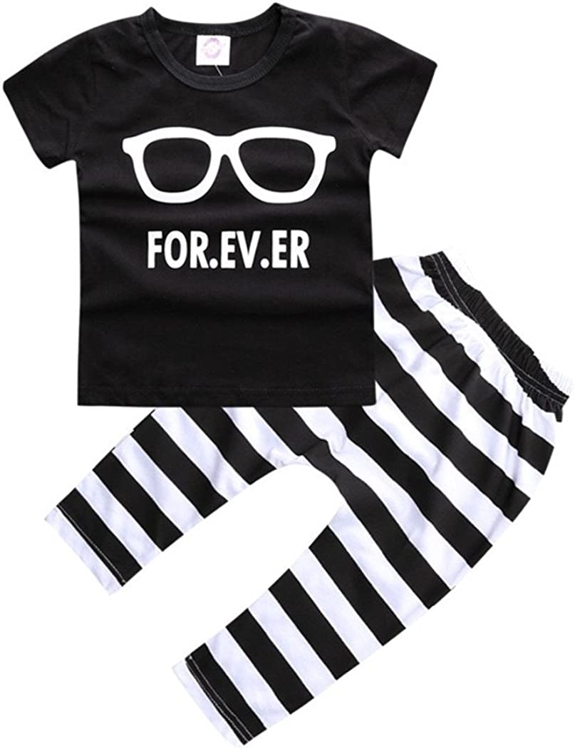 Tops Outfits Newborn Baby Boys Girls Rabbits and Glasses Printed Short Sleeve Pants