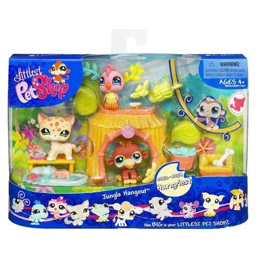 (Littlest Pet Shop Themed Playpack - JUNGLE HANGOUT with 3 EXCLUSIVE Pets)
