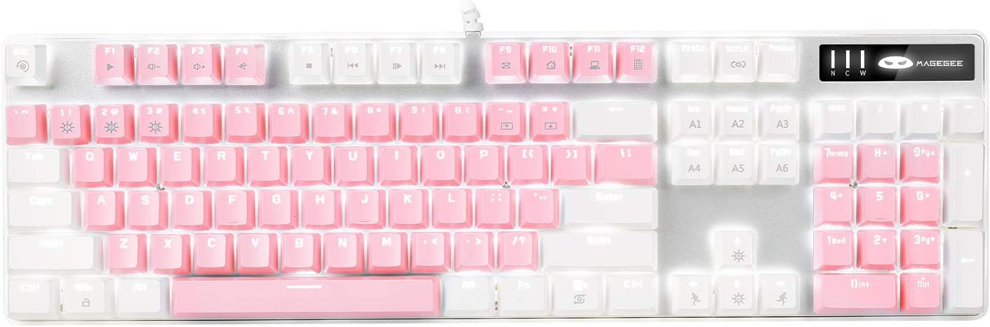 Mechanical Gaming Keyboard, MageGee 2020 New Upgraded Blue Switch 104 Keys White Backlit Keyboards, USB Wired Mechanical Computer Keyboard for Laptop, Desktop, PC Gamers(White & Pink)
