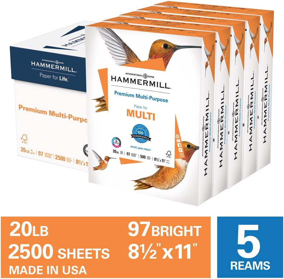 Hammermill Premium Multi-Purpose 20lb Copy Paper, 8.5 x 11, 5 Reams, 2,500 Sheets, Made in USA, Sustainably Sourced From American Family Tree Farms, 97 Bright, Acid Free, Printer Paper, 105910C