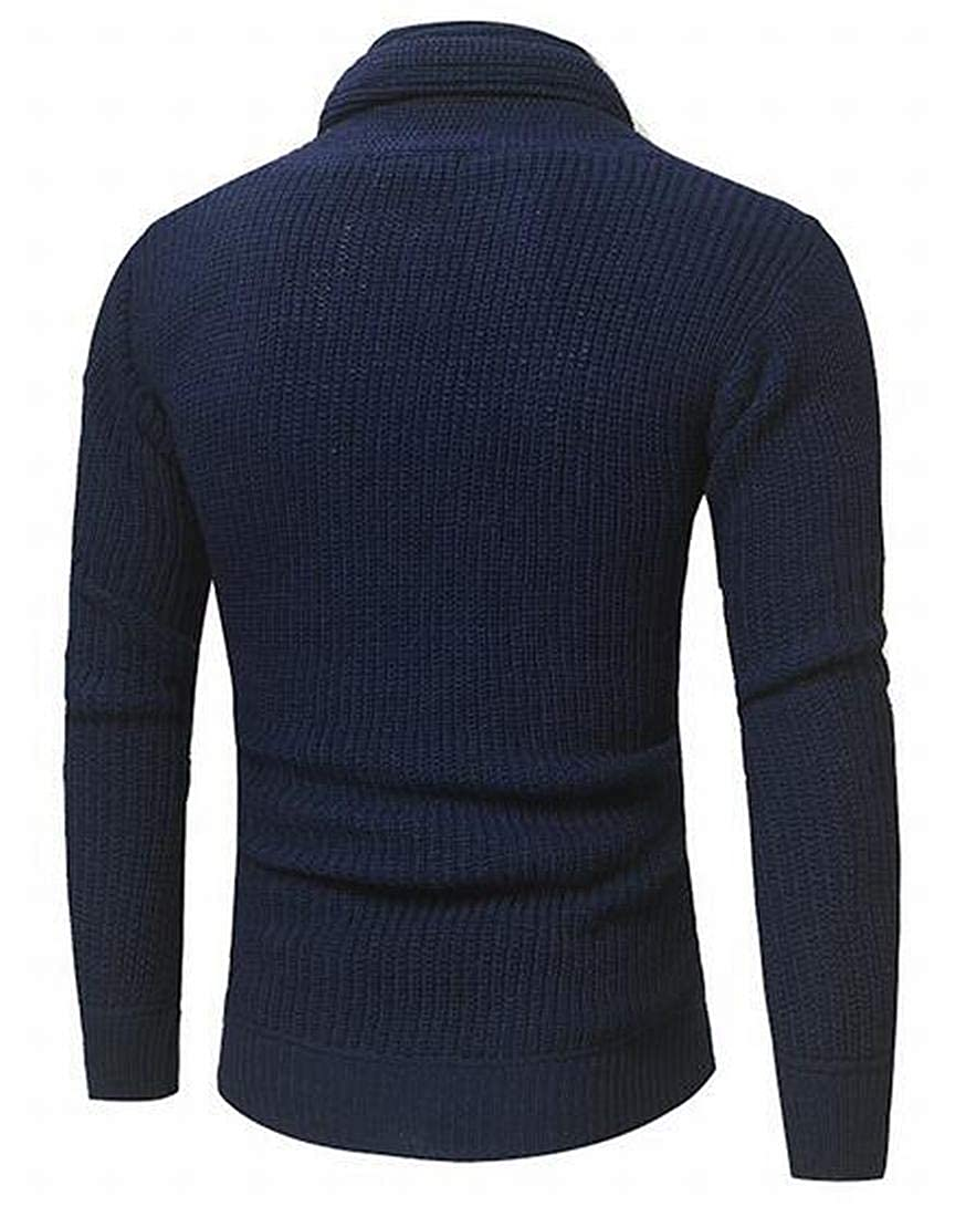 YYG Mens Long Sleeve Knitting Heap Collar Plain Regular Fit Pullover Sweater Jumper