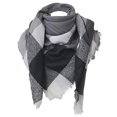 Chapeau-tendance - Echarpe carré XXL grise et blanche - - Femme ... bfb26606fc0