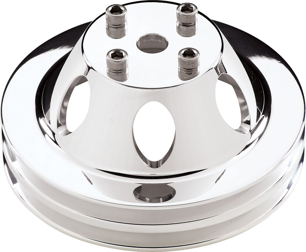 Billet Specialties 78120 Polished 2 Groove Water Pump Pulley for Small/Big Block Chevy