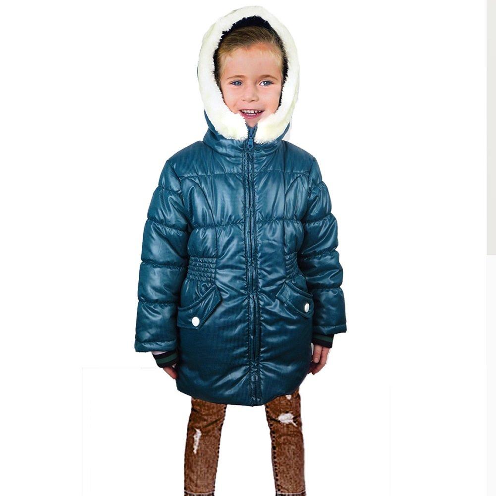 Girls Fashion Winter Coat Insulated Fleece-Lined Hooded Weatherproof Puffer Jacket