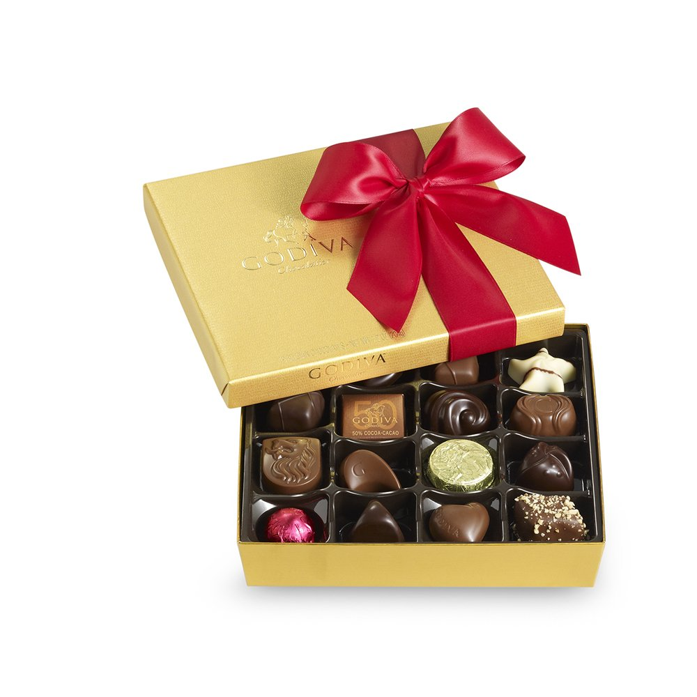 Godiva Chocolatier Red Ribbon Ballotin Valentines Chocolate Gift, 19 Count by GODIVA Chocolatier