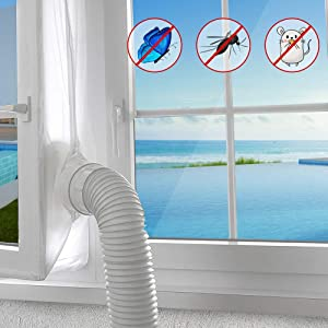 AGPTEK 400cm Window Seal for Portable Air Conditioner and Tumble Dryer, Mobile AC Unit Soft Cloth Sealing, Stop Hot Air with Zip and Adhesive Fastener-no Need for Drilling Holes for Tilt Window