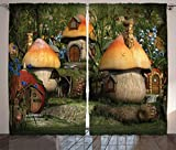 Ambesonne Farm House Decor Curtains by, Mushroom Houses in Forest Fairy Tale Fantasy Wonderland Dwarf Kid Nursery Theme, Living Room Bedroom Window Drapes 2 Panel Set, 108W X 84L Inches, Multi Review