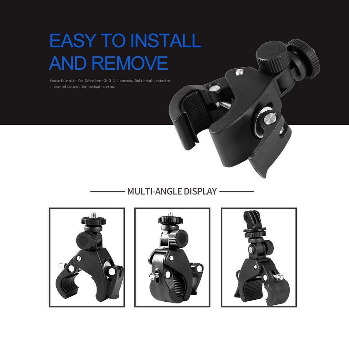 Tige de Selle de v/élo avec Guidon et Pince de Montage sur Cage de roulement avec Adaptateur pour cam/éra GoPro HD Hero 5 4 3 Sport /à 360 /° Noir WEIWEITOE