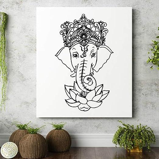 LQRRHY 3D Elefante Buda Mandala Flor de Loto Etiqueta de la Pared ...