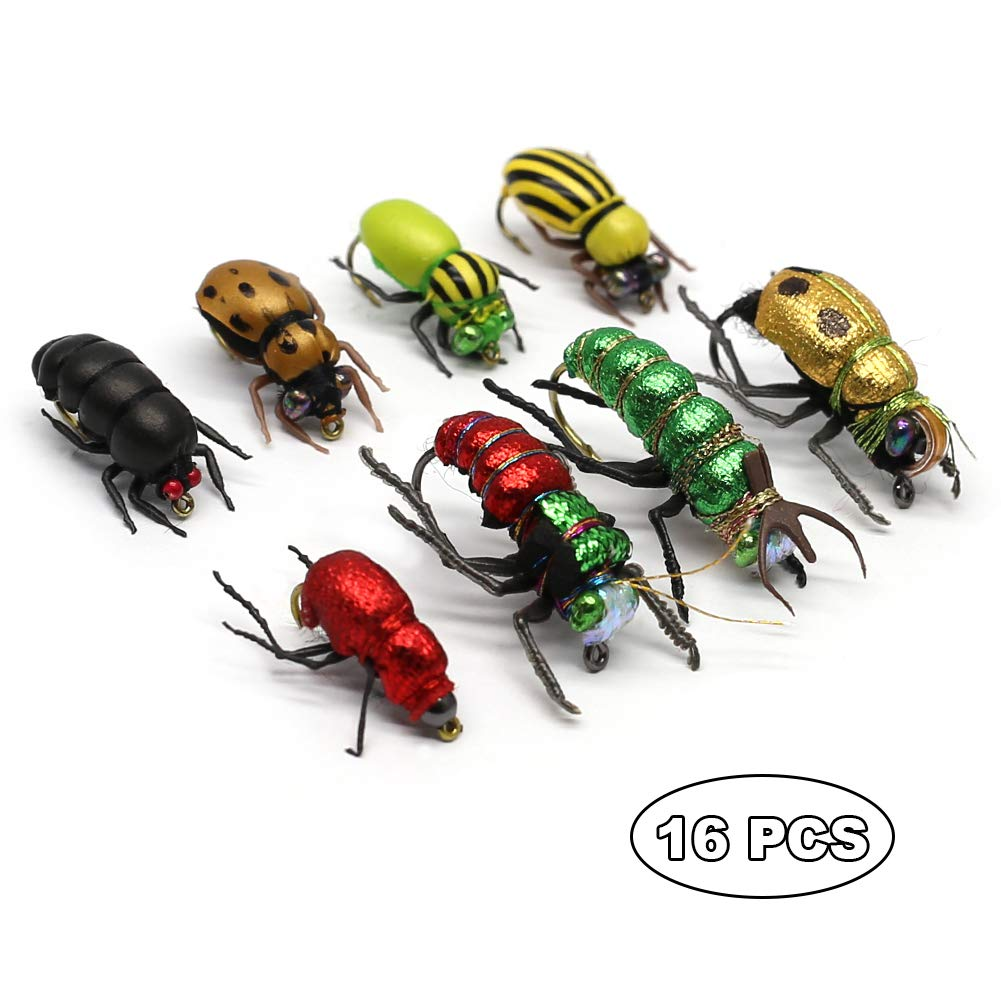 YZD Trout Fly Fishing Flies Collection Dry Wet Nymph Fly Assortment with Fly Box Flyfishing Flys Lures 12/16/18/22/36 Kits (Beetle kit)