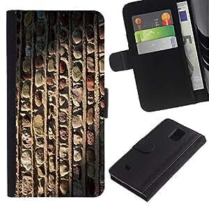 Samsung Galaxy Note 4 IV / SM-N910 Modelo colorido cuero carpeta tirón caso cubierta piel Holster Funda protección - Architecture Vertical Pattern