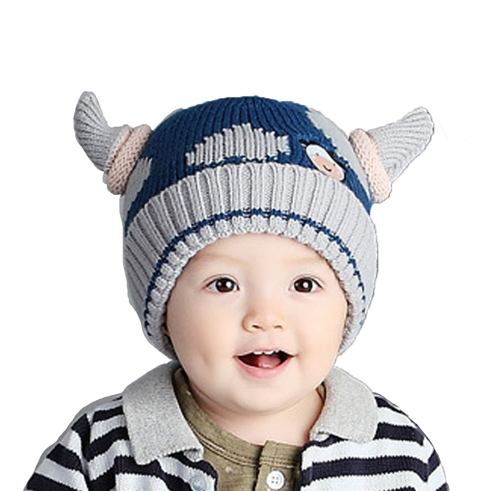 50ef2c7647e Amazon.com  Baby Girls Boys Winter Hat Scarf Earflap Hood Scarves Viking  Horns Caps (Blue Viking Horns)  Clothing