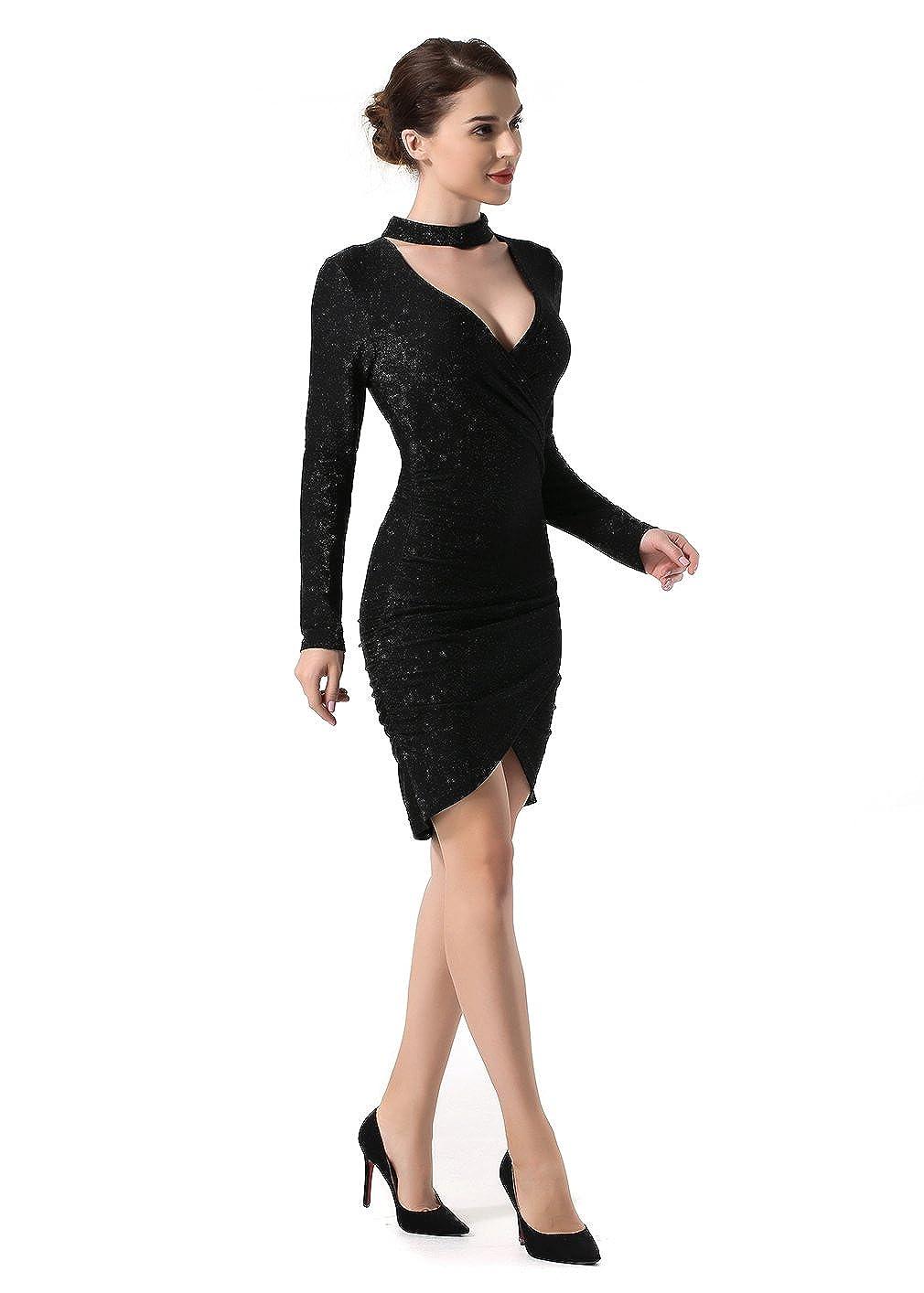 La Vogue Womens V-neck Choker Long Sleeve Asymmetrical Bodycon Hi-Lo Mini Dress: Amazon.co.uk: Clothing