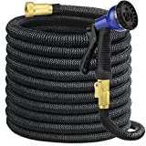 SHINE HAI Garden Hose 50' Expanding Water Hose With All Brass Connectors. 8 Pattern Spray Nozzle And High Pressure, Kink-Free, 5,000 Denier Woven Casing