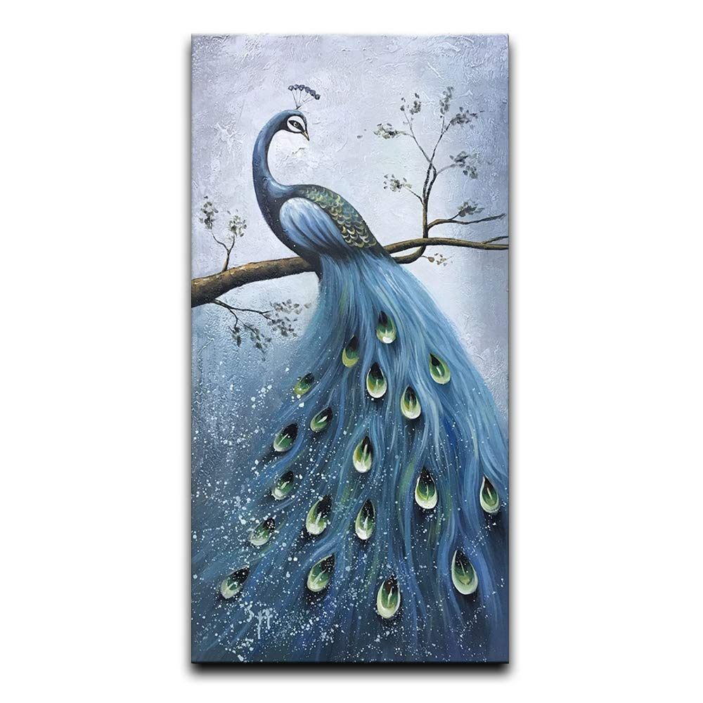Desihum-Blue Peacock Vertical Wall Art Hand Painted Oil Painting On Canvas Wood Inside Framed Artwork Hanging Decoration for Living Room(24''x36'')