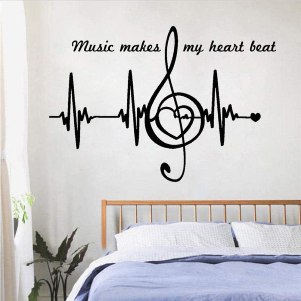 oppsq Heart Pulse Heartbeat Art Removable Wall Sticker Music Notes Home Decoration Beauty Bedroom Decals Decor 42X61Cm