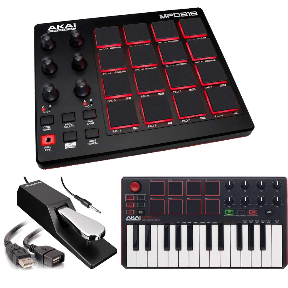 Akai Professional MPD218 | MIDI Drum Pad Controller with Akai MPK Mini MKII | 25-Key Portable USB MIDI Keyboard (Red Black) + Pedal & USB Cable - Top Value Bundle by Akai