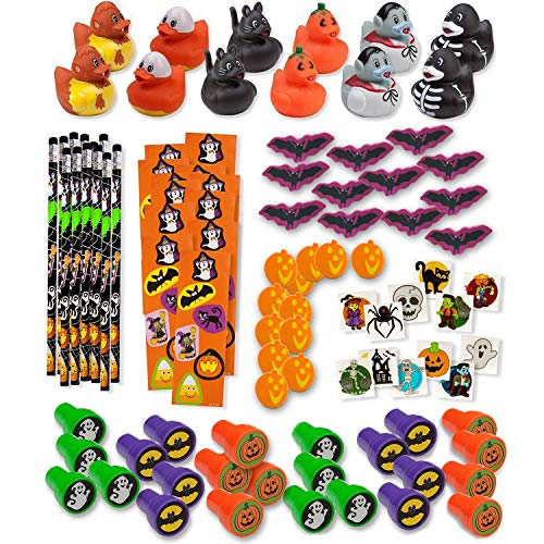 Halloween Party Mix Food (Bulk 336 Halloween Novelty Toys for Kids 24 Rubber Ducks 24 Stampers 24 Pencils 24 Sticker Sheets 96 Mini Erasers 144 Glitter Tattoos Halloween Treats Non Candy Party Favors Goody)