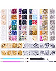 Duufin 10014 Pcs Nail Art Rhinestones Nail Crystal Gems Nail Jewels Nail Diamonds with 1 Pc Pick Up Tweezers 1 Pc Brush Pen and 2 Pcs Wax Pens for Nail Art Supplies