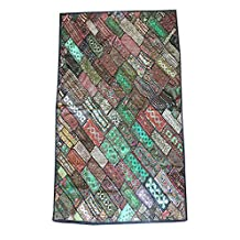 Mogul Vintage Kutch Tapestry Embroidery Bohemian Décor Wall Hanging Throw Festival Décor
