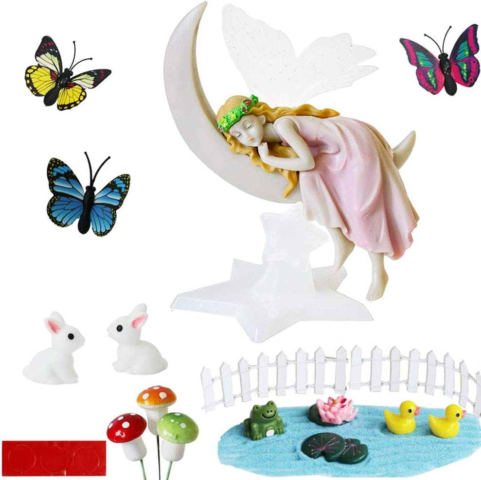 BangBangDa Miniature Fairy Garden Accessories - Moon Fairy Garden Fairies Figurines Outdoor Indoor Landscape Ornaments Gardening Decorations Statue Kit Set Kids Girls Toy Birthday Gifts (17pcs)