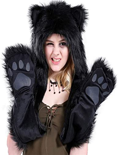 Black Hood Animal Spirit Hood Faux Fur Hat with scarfs Full Pockets 3 in 1 Ear Flat Cap Hoodie Furry Gloves Party Costume