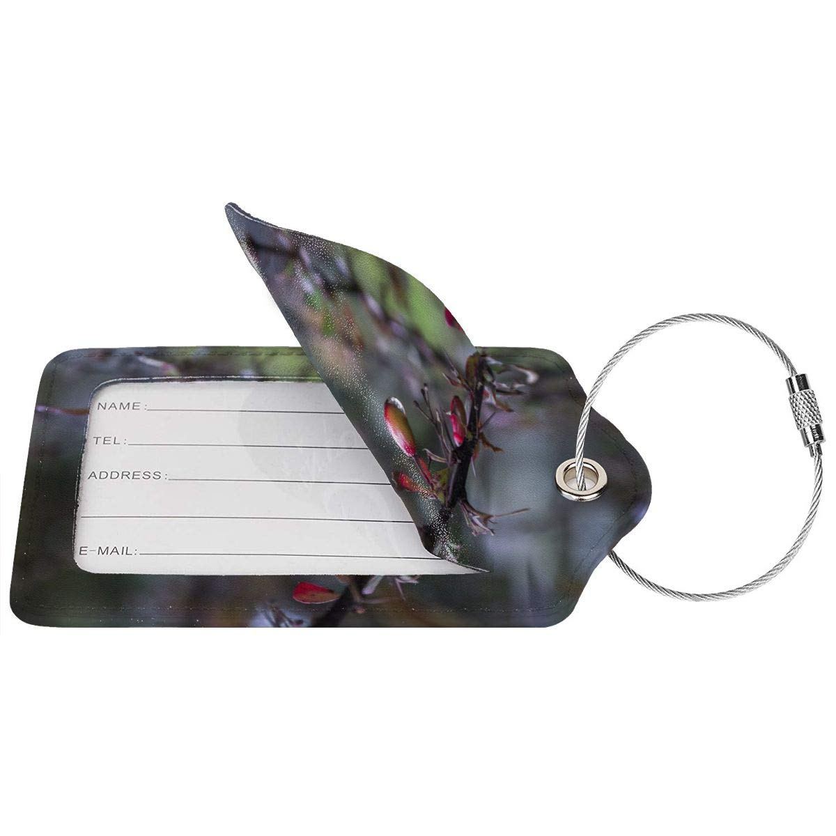 Plants Berries Travel Luggage Tags With Full Privacy Cover Leather Case And Stainless Steel Loop