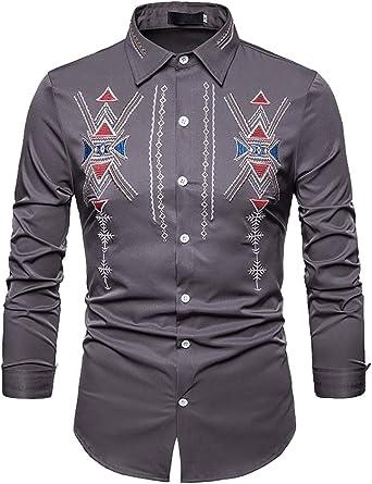 Gocgt - Camisa de Vestir clásica para Hombre, Estilo Africano, Estilo Tribal Gris Gris US XX-Small: Amazon.es: Ropa y accesorios
