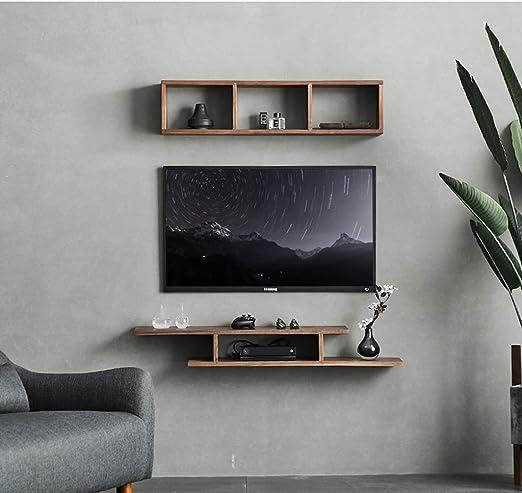 XINGPING-Shelf Sala de Estar TV Gabinete Set-Top Box Shelf Dormitorio Estante de Pared de Madera de Nogal Negro Rack Shelf Rack (Color : Black Humu is 120cm Long): Amazon.es: Hogar